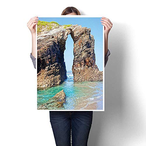 3D Hand Painting,Old Rocky Stone Arches on Spanish Seacoast Summer Light Nature Scenery de Mediterranean Oil Painting,Wall Art for Hallway Bathroom,32
