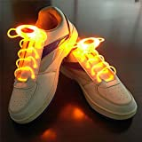 Welsun Yellow LED Luminous Shoelaces 80cm Glow Shoelaces LED Sport Shoe Laces Glow Stick Flashing Neon Luminous Laces 1 Pair