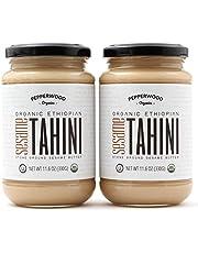 Organic Stone-Ground Ethiopian Sesame Tahini Paste, Hulled, Unsalted, Non-GMO, Gluten-Free, Kosher, Vegan, USDA Organic, Peanut-Free, Glass 11.6 Ounce (2 Pack)