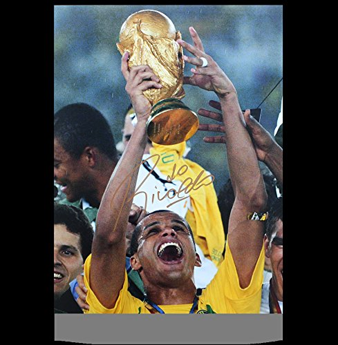 (Rivaldo Autographed Signed Brazil 12x18 Photo Autographed Signed In Gold: 2002 FIFA World Cup Winner - Certified Authentic Soccer Signature)