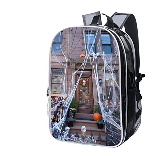 (High-end Custom Laptop Backpack-Leisure Travel Backpack Hoboken Brownstone Decorated for Halloween in October 2017 Water Resistant-Anti Theft - Durable -Ultralight-)