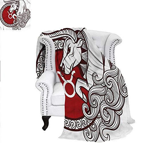 (RenteriaDecor Taurus Digital Printing Blanket Astrology Calendar Animal Velvet Plush Throw Blanket 90