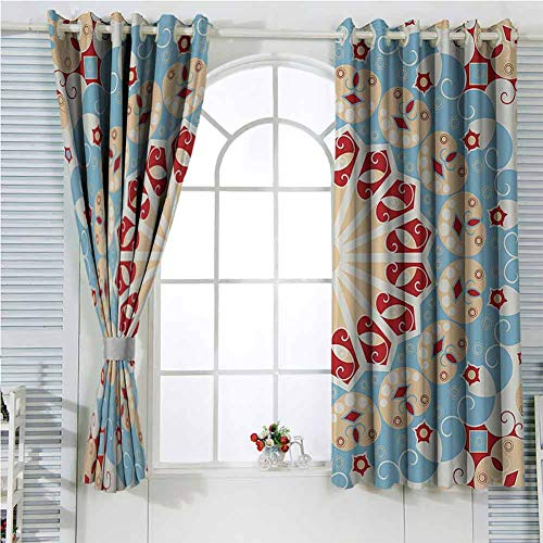Classic Decor Collection Sliding Curtains for Bedroom Luxurious Royal Classics Stylish Summertime Exotic Arabic Style Art Print Blackout Shades for Bedroom W72 x L96 Inch Light Blue Red Ivory