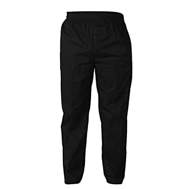 ab4b293e7c7373 Levoberg Chef Pants Men Elastic Waist Baggy Kitchen Pants Uniforms for Restaurant  Hotel Black M