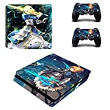 Scarlet Sails PS4 Slim Console and DualShock 4 Controller Skin Set - Japan Anime Saber Lily Style - Designer Skin Decal Vinyl Protective Stickers