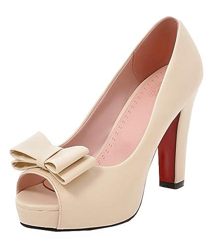 e376be1c4ff6b7 SHOWHOW Women s Cute Bowknot High Chunky Heels Platform Slip On Sandals  with Peep Toe Beige 4