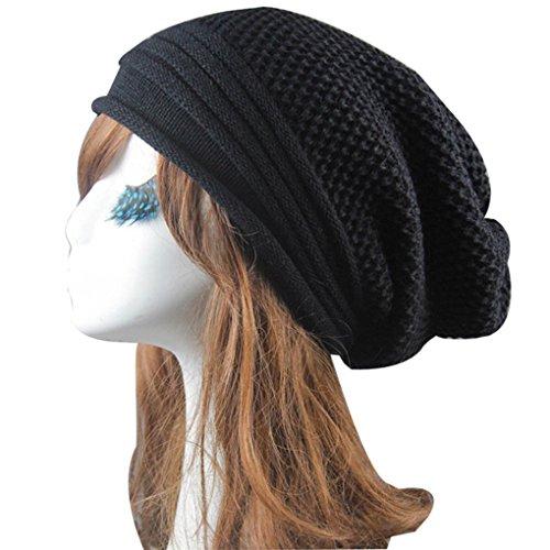 Women Hat,Haoricu Women Fashion Knit Winter Warm Women Men Beanie Hat Baggy Unisex Ski Cap Skull (Black)