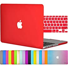 """Easygoby 2in1 Matte Frosted Silky-Smooth Soft-Touch Hard Shell Case Cover for Apple 13.3""""/ 13-inch MacBook Pro with Retina Display Model A1425 /A1502 (NO CD-ROM Drive) + Keyboard Cover - Red"""