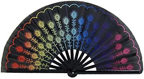 Wongfon Großer Bambus Rave Faltbarer Handfächer für Frauen/Männer, Chinesisch mit Bambus- und Nylontuch-Handfächer, Idee für Leistung, Dekorationen, Tanz, Festivalparty, Geschenk