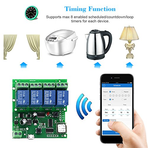 Sonoff WiFi Switch Kit, 4CH DC 5V 12V 32V Universal Smart