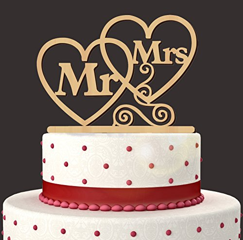 Tinksky Mr Mrs Cake Topper Heart Shape Wedding Cake Topper Party Cake Decorations