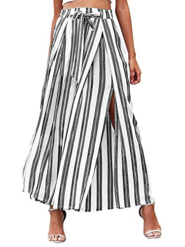 - DEEBAI Women's Casual High Waisted Striped Wide Leg Trousers Split Flowy Palazzo Pants with Belt (White,2/4)