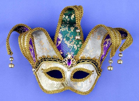 [Forum Magic Color Mardi Gras Half Mask With Jester Crown, Green/Gold/Purple, One Size] (Aristocrat Halloween Costume)