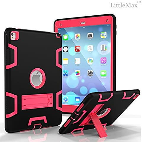 iPad Pro 9.7 Case,LittleMax(TM) [High Impact] Kickstand Protective Case 3 in 1 Robot Soft Gel Tough PC iPad Pro 9.7 Inch Case Cover [Free Cleaning Cloth,Stylus Pen]-02 Black (Ipad 3 Soft Gel Case)