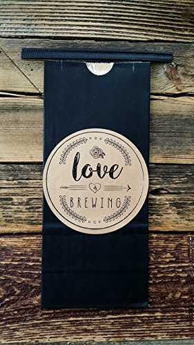 Chalkboard coffee bags with kraft paper stickers for rustic or bohemian style wedding favors, baby showers, parties and bridal showers 12 ct