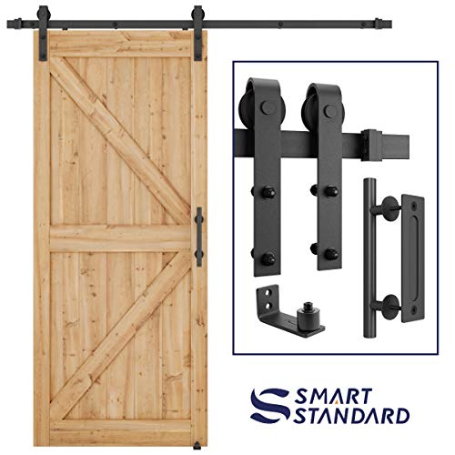 6.6 FT Heavy Duty Sturdy Sliding Barn Door Hardware Kit, 6.6ft Single Rail, Black, (Whole Set Includes 1x Pull Handle Set & 1x Floor Guide) Fit 36