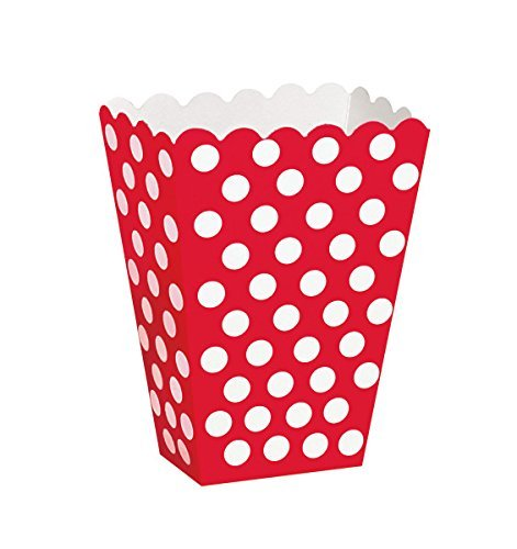 Birthday Treat Plate - Red Polka Dot Popcorn Treat Boxes, 8ct