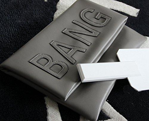 Zarapack de gran tamaño para mujer con tapas de piel sintética funda de piel con de letra bolso de mano piñón libre de más plegable - gris