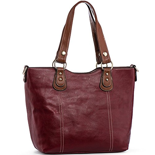 UTAKE Handbags for Women Top Handle Shoulder Bags PU Leather Tote Purse Meduim Size Red -