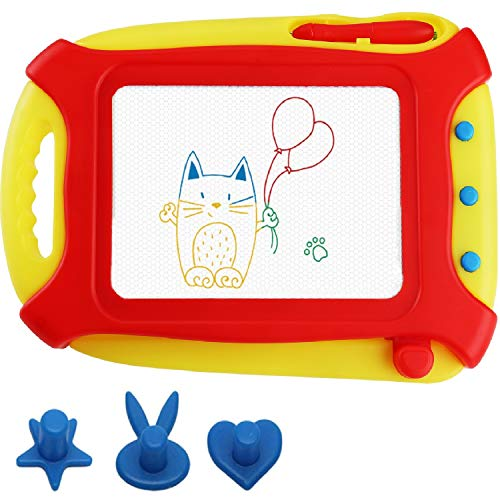pidien Magnetic Drawing Board Travel Size for Toddlers Kids Toys Colorful Drawing Tablet Erasable Sketching Pad with 3 Stampers Etch a Sketch