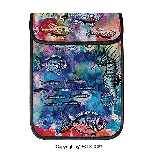 (SCOCICI iPad Pro 12.9 Inch Sleeve Tablet Protective Bag Sea Creatures Watercolor Painting Effect Batik Print Decorative Custom Tablet Sleeve Bag Case)