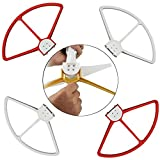 Artrinck 4 Pieces Removable Propeller Guards Protectors for DJI Phantom 3 Professional, Advanced and Standard, Comes with 20 Screws, 1 Hex Wrench and 94.5 inch Protective Thread (White+Red)