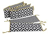 Black Baby Cribs with Changing Table Attached Bacati Love 4 Piece Bumper Pad, Black/Gold