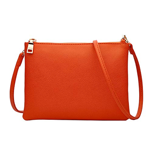 Crossbody Bag for Women, Small Shoulder Purses and Handbags LightweightPU Leather Wallet with Detachable Straps (Orange)