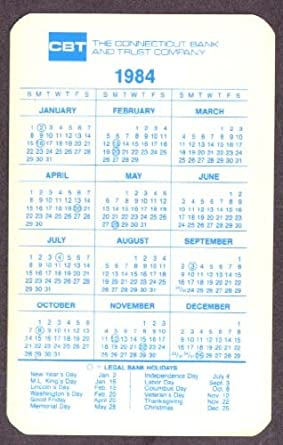 Connecticut Bank Trust Pocket Calendar 1984 Barney At Amazons