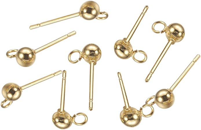 WSSROGY 100 Pack Gold Plated Brass Ear Studs 4mm Solid Ball Post with Loop Earring Finding for Jewelry Making Package of 50 Pair
