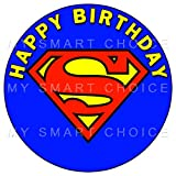 7.5 Inch Edible Cake Toppers - SUPERMAN CLASSIC LOGO Themed Birthday Party Collection of Edible Cake Decorations