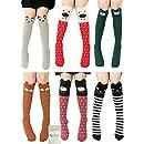 Girls Socks, Gellwhu 6/8 Pairs Cotton Over Calf Knee High Socks Animal Cat Fox Socks (6 Colors)