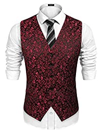 COOFANDY Men's Floral Party Tuxedo Vest Sleeveless Dress Suit Vest Waistcoat