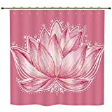 Shower Curtain,Floral,Lotus Flower Meditation Yoga Plant Asian Zen Petal Spiritual Icon Chakra Print,Baby Pink Cream,Polyester Shower Curtains Bathroom Decor Sets with Hooks