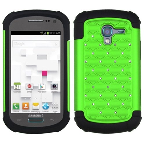 MYBAT Luxurious Lattice Dazzling Total Defense Protector Cover for Samsung T599 Galaxy Exhibit - Retail Packaging - Pearl Green/Black
