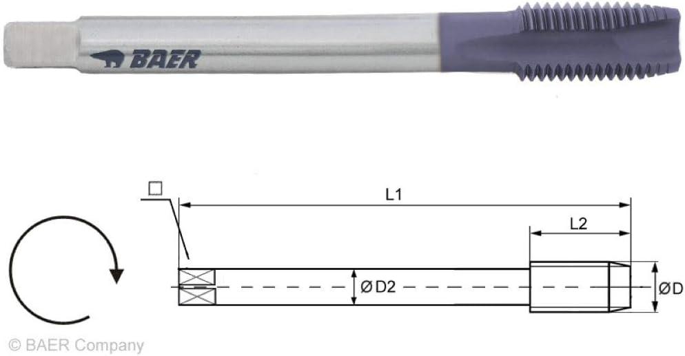 Gewindebohrer Durchgangsloch Gewindeschneider BAER UNiTap HSSE-TiAIN Maschinengewindebohrer Form B DIN 376 M 12 x 1,75