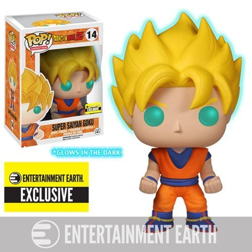 Funko POP! Anime: Dragonball Z Glow In The Dark Super Saiyan Goku Action Figure EE Exclusive (4 Action Figure Not Mint)