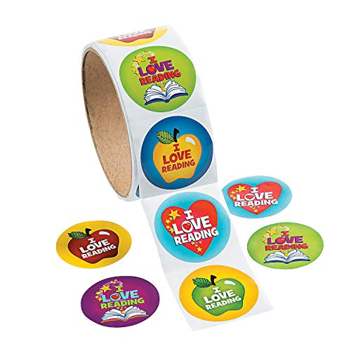 Fun Express 1 Roll, I Love Reading Stickers, 100 Round Paper Stickers Total Approx. 1.5