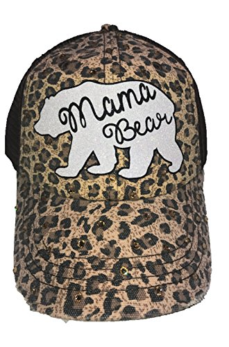 (Blinging for Tipps Leopard Print Tan and Brown Mama Bear Hat With Swarovski Crystals)