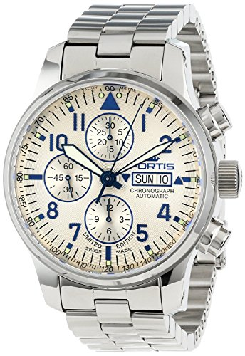Fortis Men's 701.20.92 M F-43 Flieger Chronograph Beige Dial Automatic Chronograph Date Stainless-Steel Watch