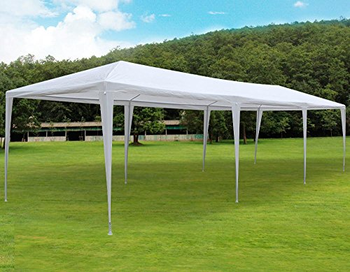 go2buy 30'X10' White Heavy Duty PE Water Resistant Party Wedding Tent Carport Canopy 8 Walls (Party Carport)