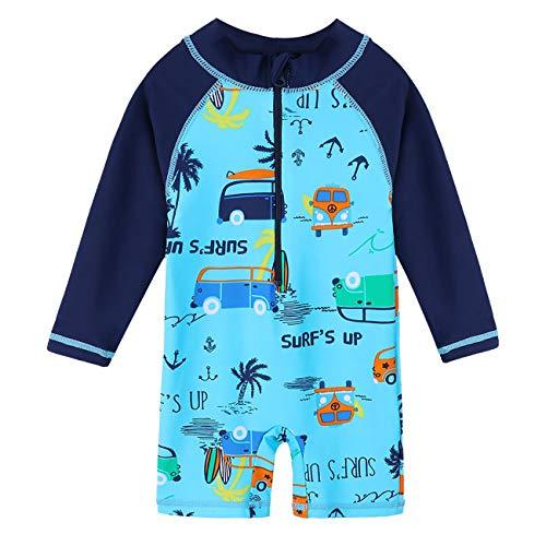 Storeholic Baby Boy Swimsuit Long Sleeve One-Piece Toddler Swimwear Rash Guard(3-4T/110) (Toddler Boy Long Sleeve Rash Guard Swimwear)