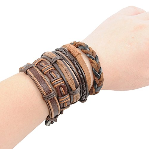 YUEAON handmade multi-style leather cord bracelets cuff unisex for men women boys girls adjustable 5pcs