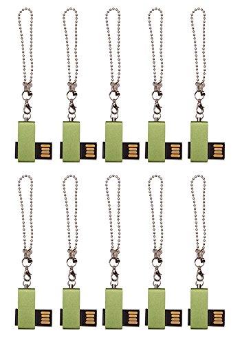 Mini Metal Swivel Green 8GB USB 2.0 Flash Drive - Bulk Pack of 10 by FEBNISCTE