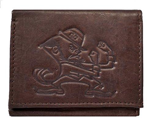Rico Notre Dame Irish NCAA Embossed Logo Dark Brown Leather Trifold Wallet