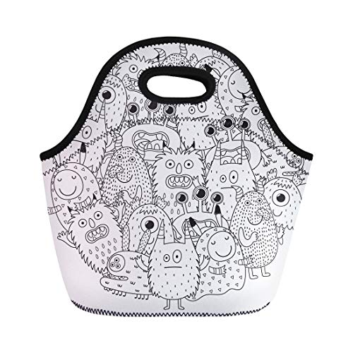 Semtomn Lunch Tote Bag Halloween Funny Monsters Circle Shape Pattern for Coloring Book Reusable Neoprene Insulated Thermal Outdoor Picnic Lunchbox for Men Women ()
