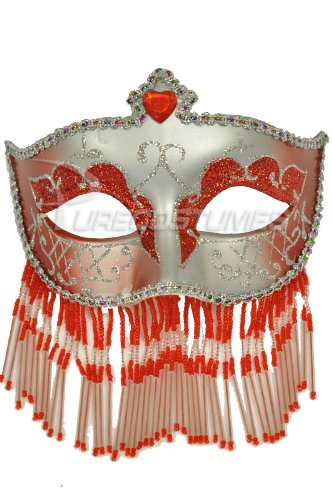 Pure Seasons Soiree Spectaculaire Mask (Red/Silver)-Standard (Carnavale Costumes)