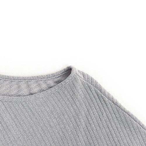 Maglia Spalline Sweatshirt Pullovers Grigio BAINASIQI Felpa Maglione Maglietta Maniche Elegante Donna Senza Tops Lunghe R8qBqHxtw
