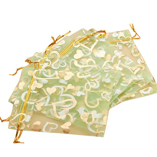 Green Organza Favor Bags (100pcs Heart Green Organza Drawstring Pouches Jewelry Party Wedding Favor Gift Bags 3.8