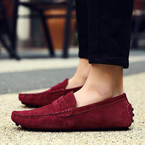 Borgoña Casual Conducción Jamron Hombres Minimalismo Cuero Mocasines Zapatos Gamuza De qgpRzE
